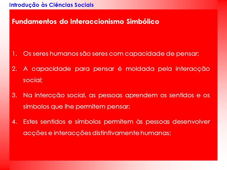 Fundamentos do Interaccionismo Simbólico