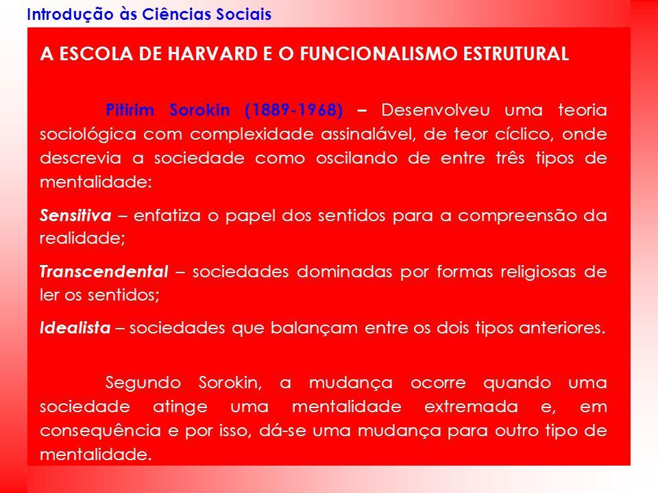 A ESCOLA DE HARVARD E O FUNCIONALISMO ESTRUTURAL