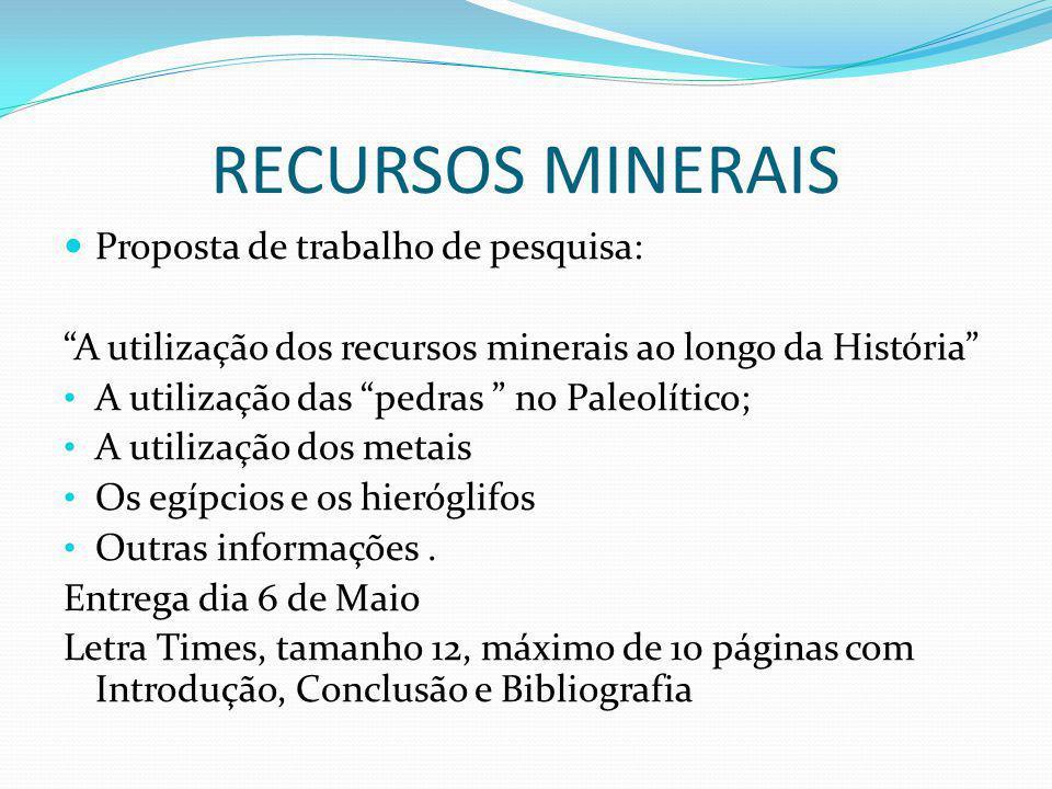 RECURSOS MINERAIS Proposta de trabalho de pesquisa: