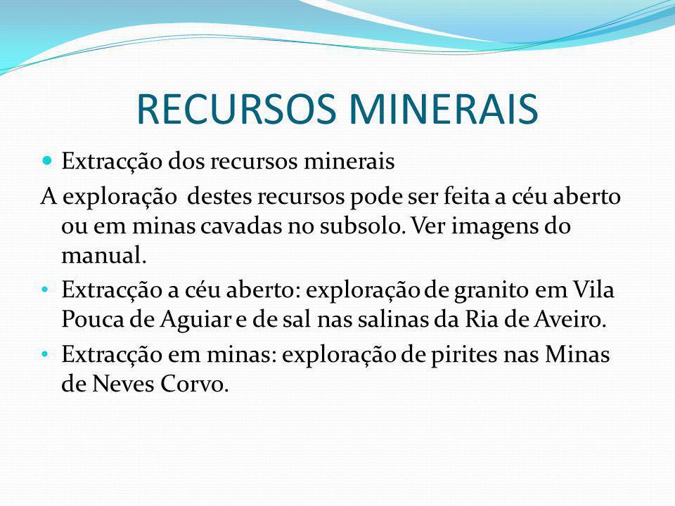 RECURSOS MINERAIS Extracção dos recursos minerais