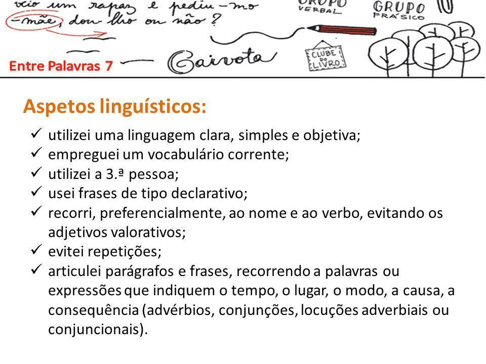 Aspetos linguísticos: