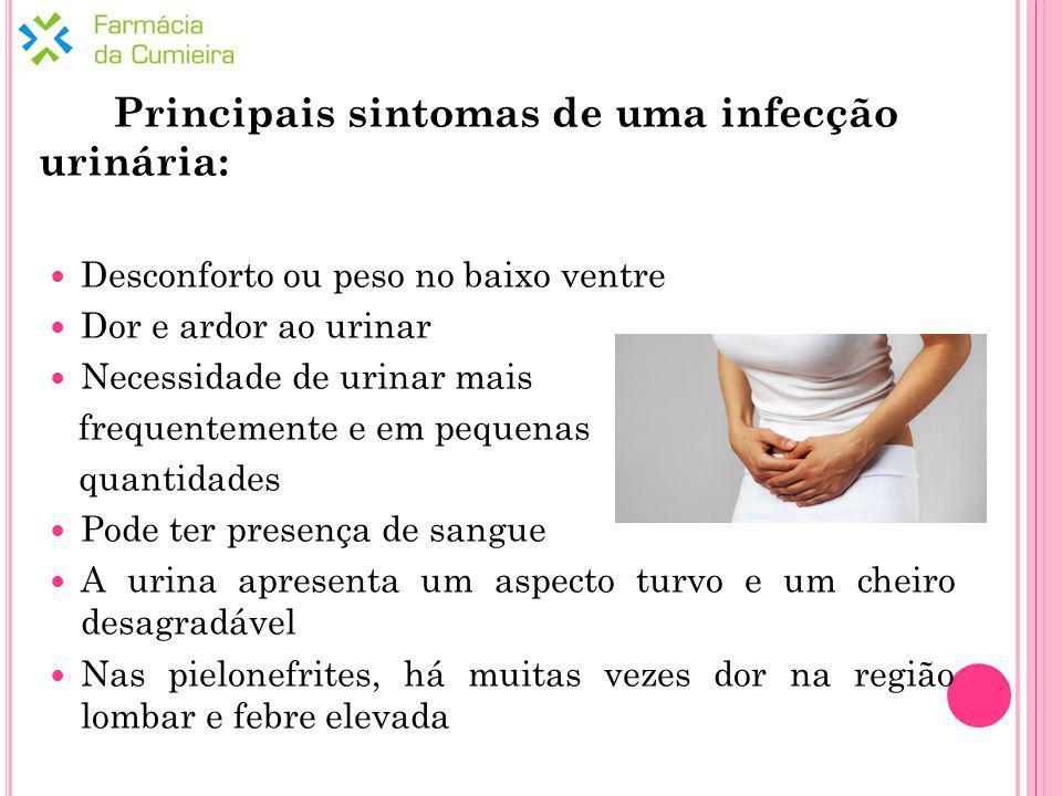 Principais sintomas de uma infecção urinária: