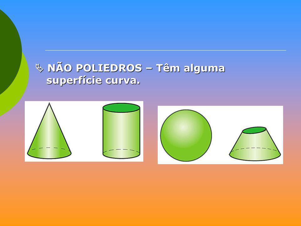  NÃO POLIEDROS – Têm alguma superfície curva.