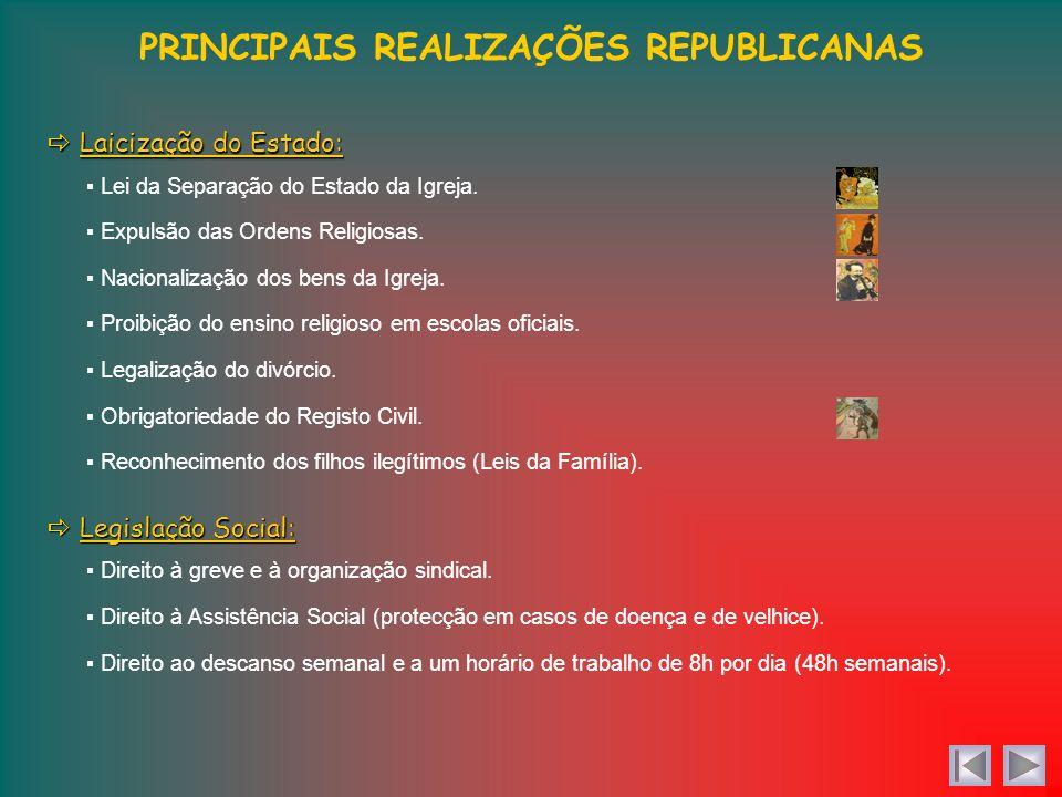 PRINCIPAIS REALIZAÇÕES REPUBLICANAS