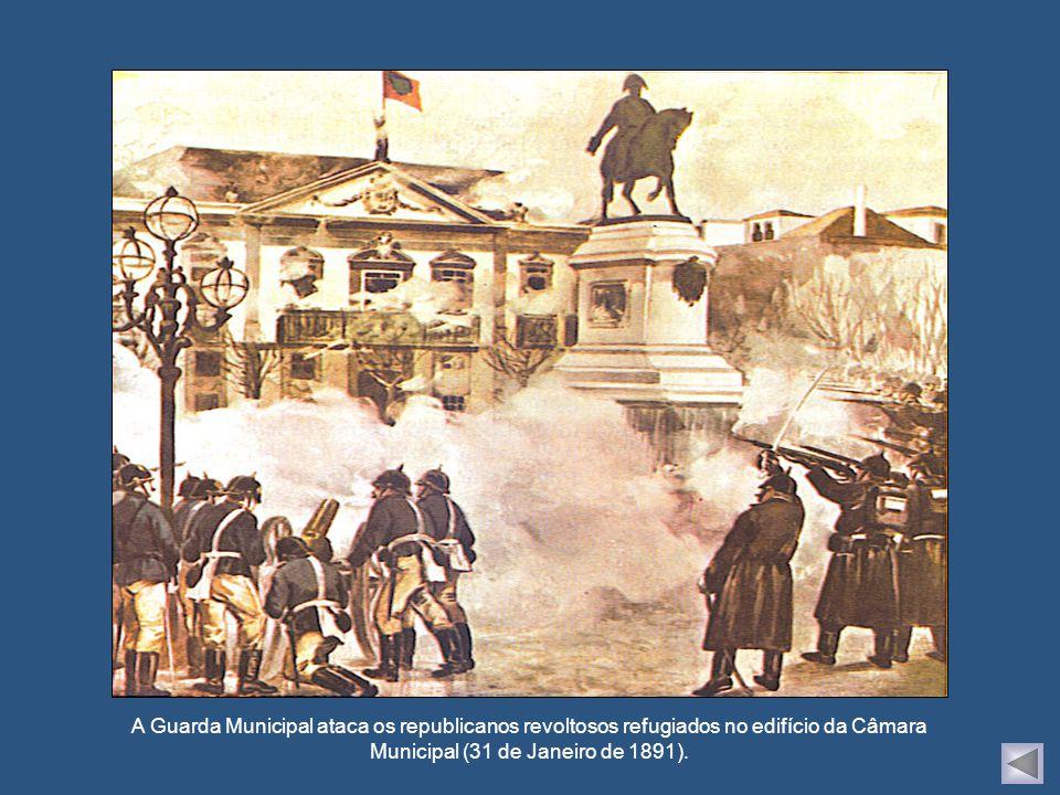 A Guarda Municipal ataca os republicanos revoltosos refugiados no edifício da Câmara Municipal (31 de Janeiro de 1891).