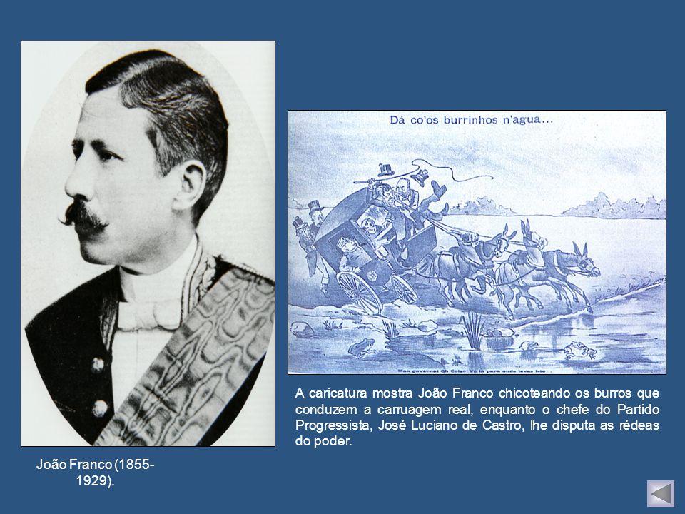 A caricatura mostra João Franco chicoteando os burros que conduzem a carruagem real, enquanto o chefe do Partido Progressista, José Luciano de Castro, lhe disputa as rédeas do poder.