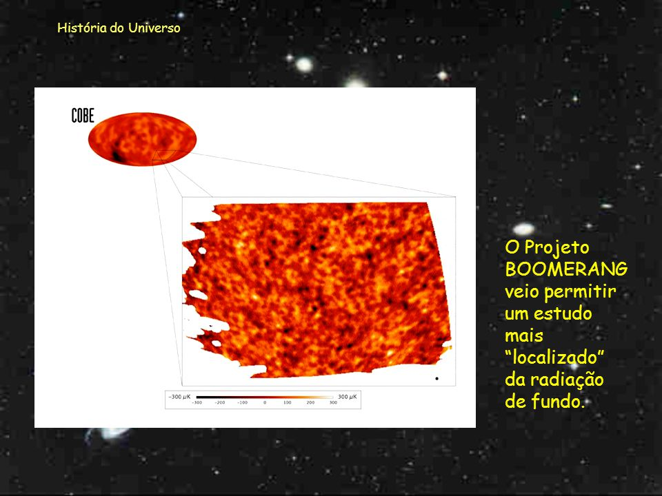 História do Universo O Projeto BOOMERANG veio permitir um estudo mais localizado da radiação de fundo.