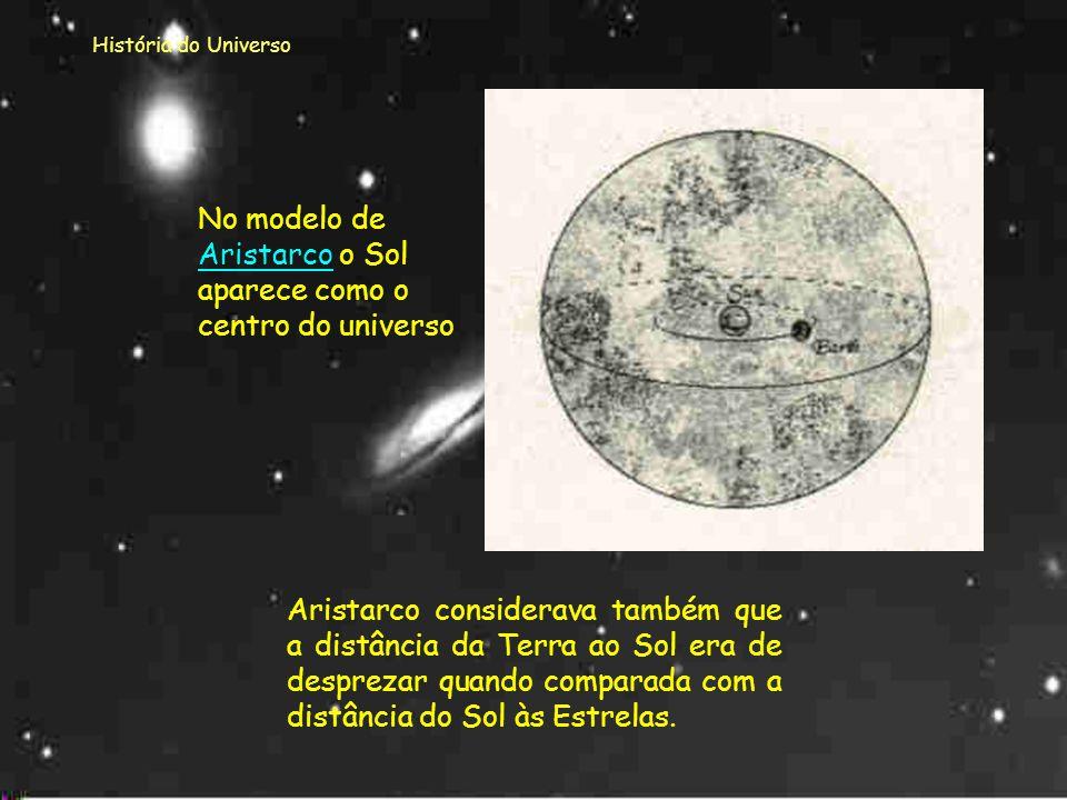 No modelo de Aristarco o Sol aparece como o centro do universo