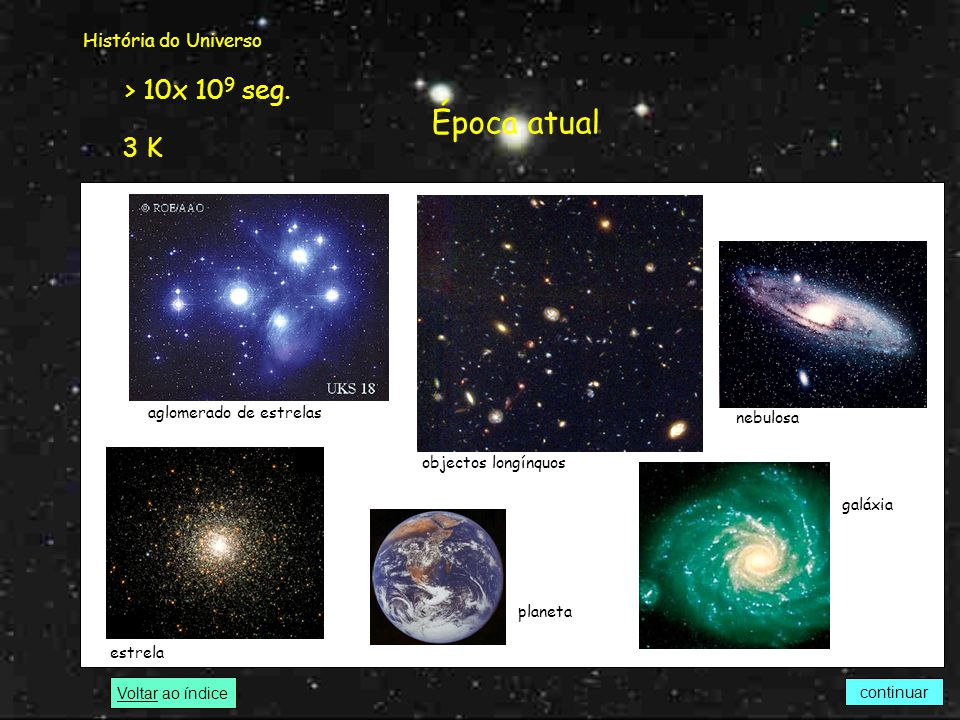 Época atual > 10x 109 seg. 3 K História do Universo