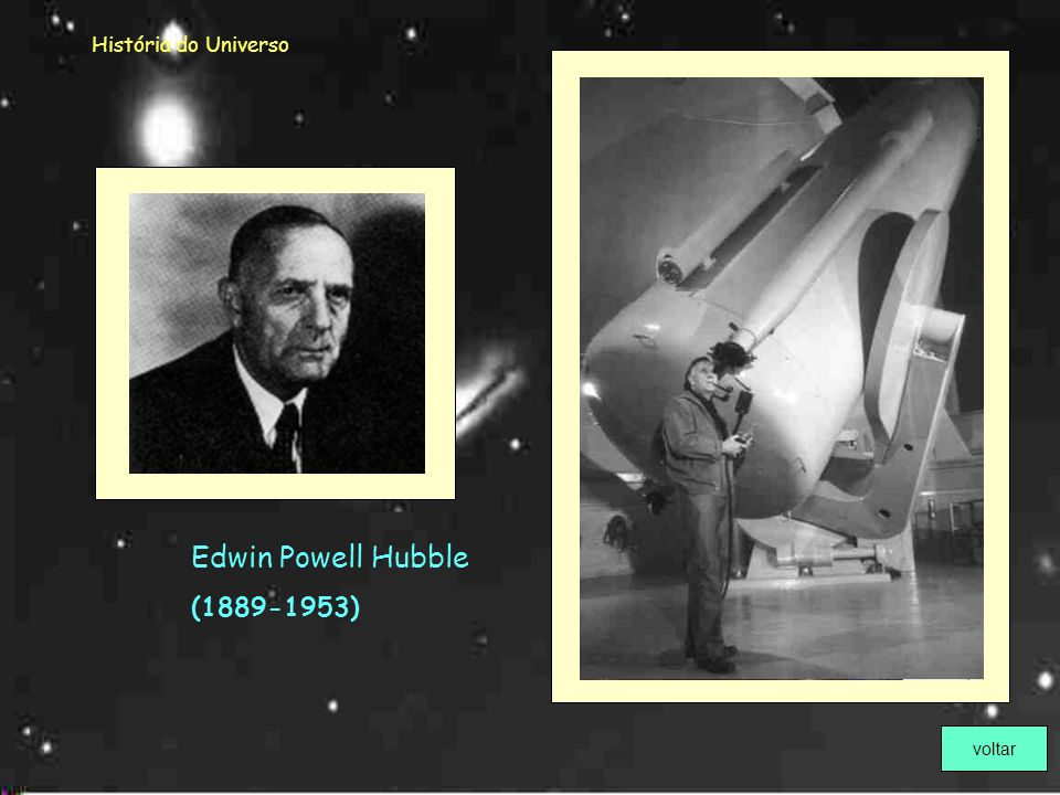 História do Universo Edwin Powell Hubble (1889-1953) voltar