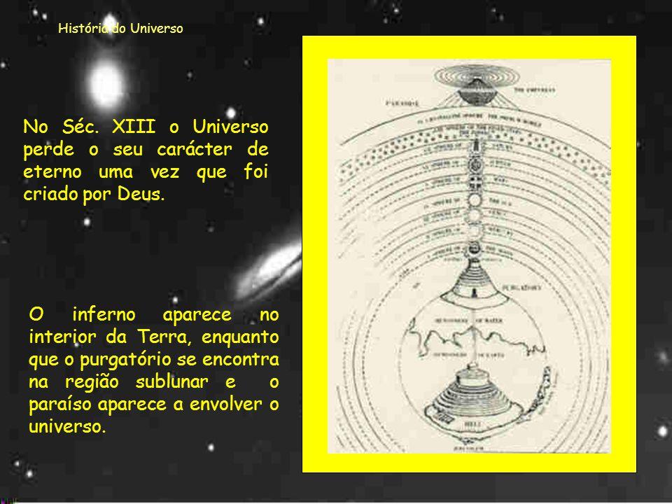 História do Universo No Séc. XIII o Universo perde o seu carácter de eterno uma vez que foi criado por Deus.