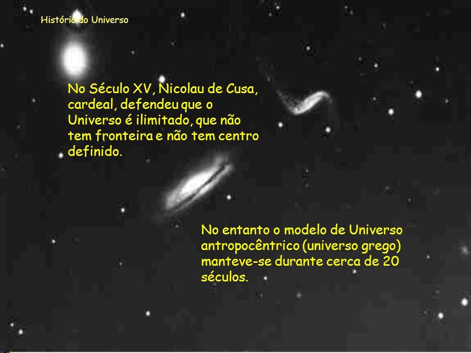 História do Universo No Século XV, Nicolau de Cusa, cardeal, defendeu que o Universo é ilimitado, que não tem fronteira e não tem centro definido.