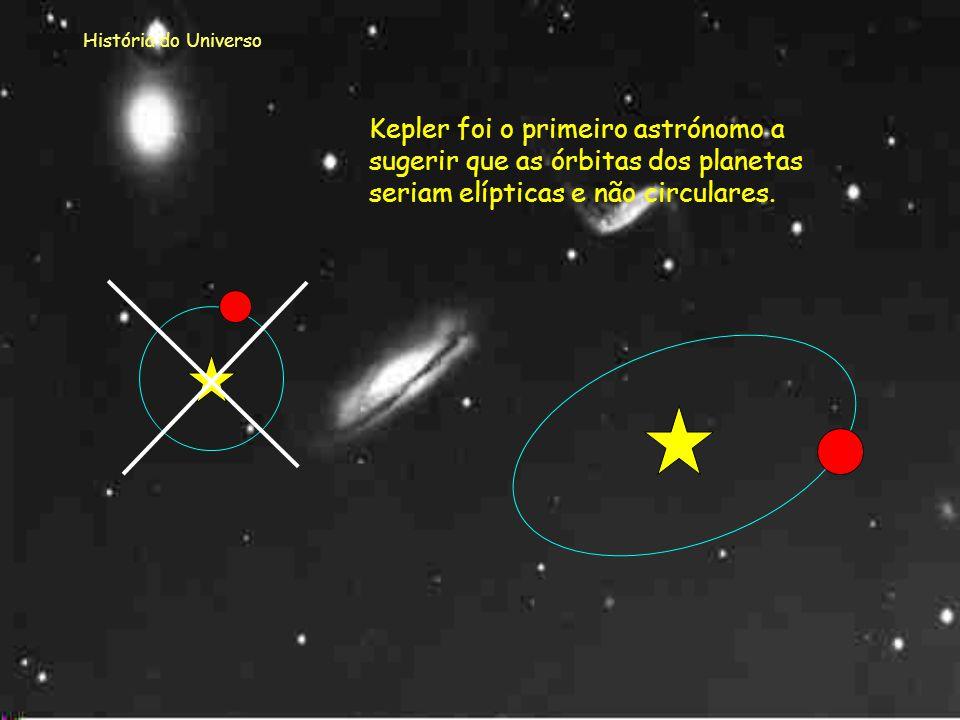 História do Universo Kepler foi o primeiro astrónomo a sugerir que as órbitas dos planetas seriam elípticas e não circulares.