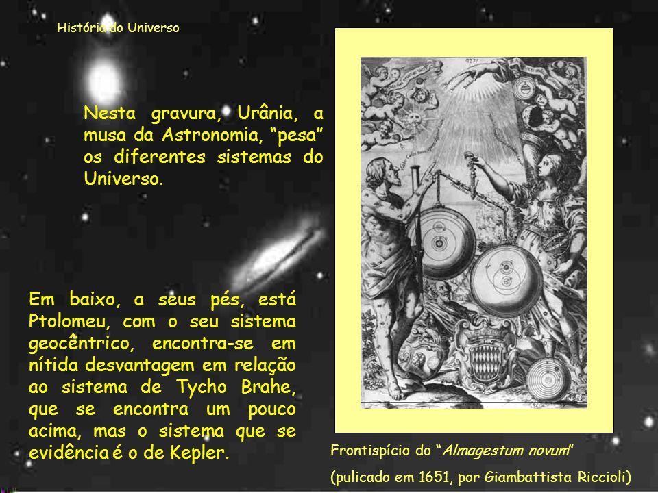 História do Universo Nesta gravura, Urânia, a musa da Astronomia, pesa os diferentes sistemas do Universo.