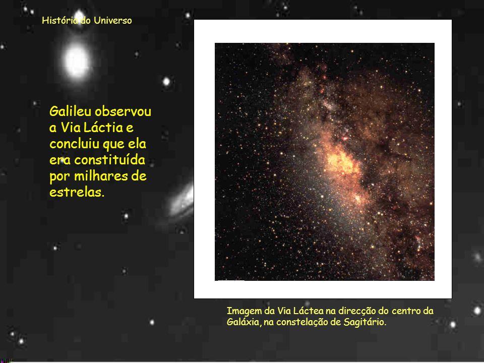 História do Universo Galileu observou a Via Láctia e concluiu que ela era constituída por milhares de estrelas.