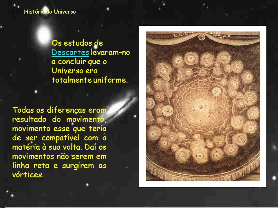História do Universo Os estudos de Descartes levaram-no a concluir que o Universo era totalmente uniforme.