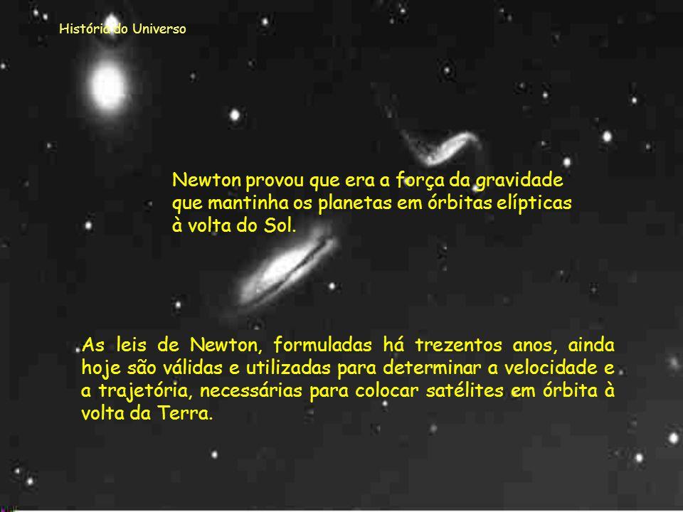 História do Universo Newton provou que era a força da gravidade que mantinha os planetas em órbitas elípticas à volta do Sol.