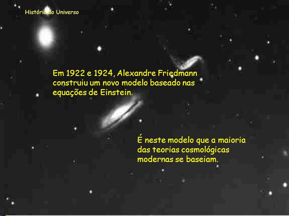 História do Universo Em 1922 e 1924, Alexandre Friedmann construiu um novo modelo baseado nas equações de Einstein.