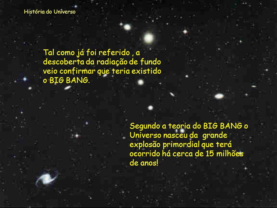 História do Universo Tal como já foi referido , a descoberta da radiação de fundo veio confirmar que teria existido o BIG BANG.