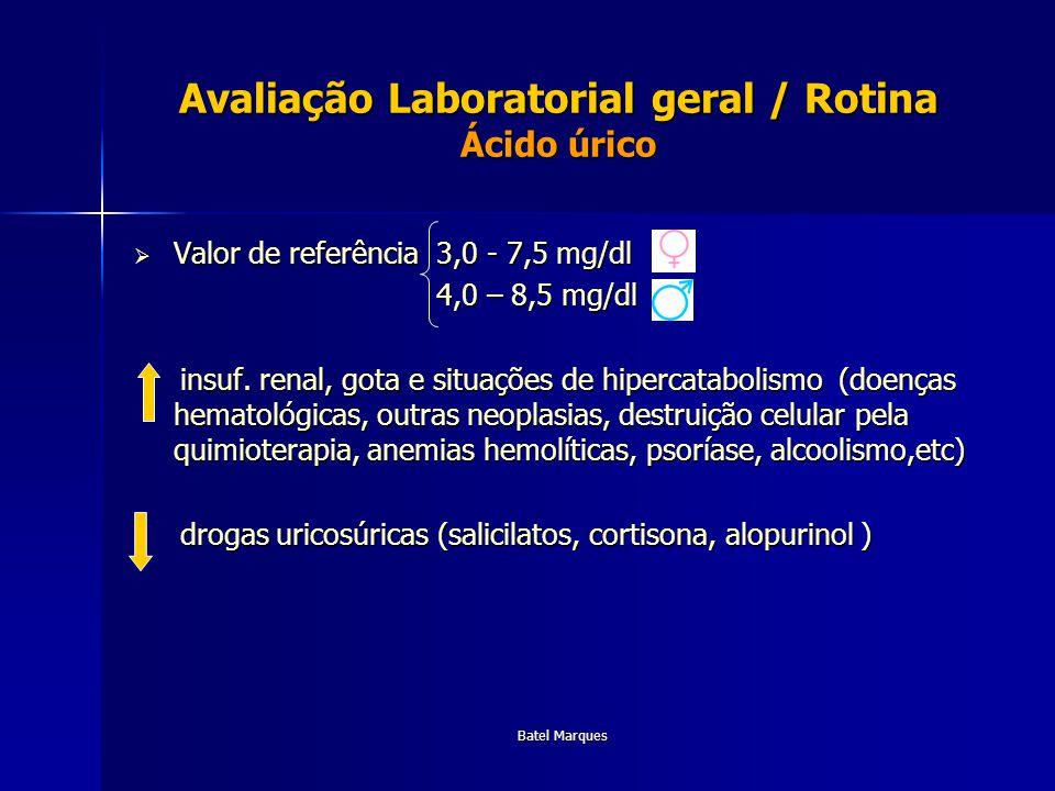Avaliação Laboratorial geral / Rotina Ácido úrico