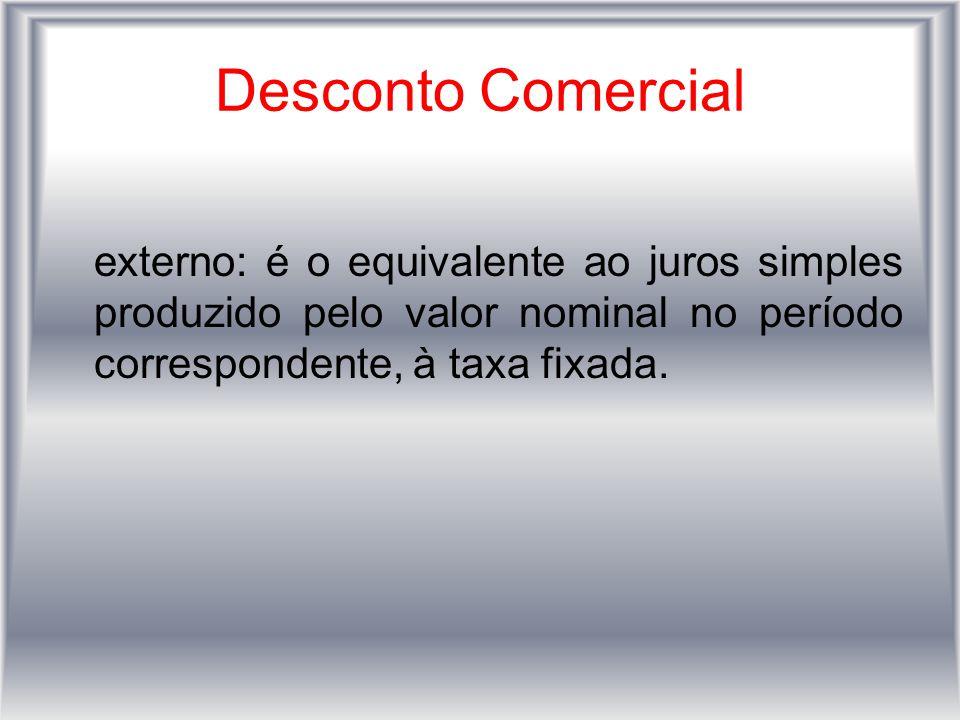 Desconto Comercial externo: é o equivalente ao juros simples produzido pelo valor nominal no período correspondente, à taxa fixada.