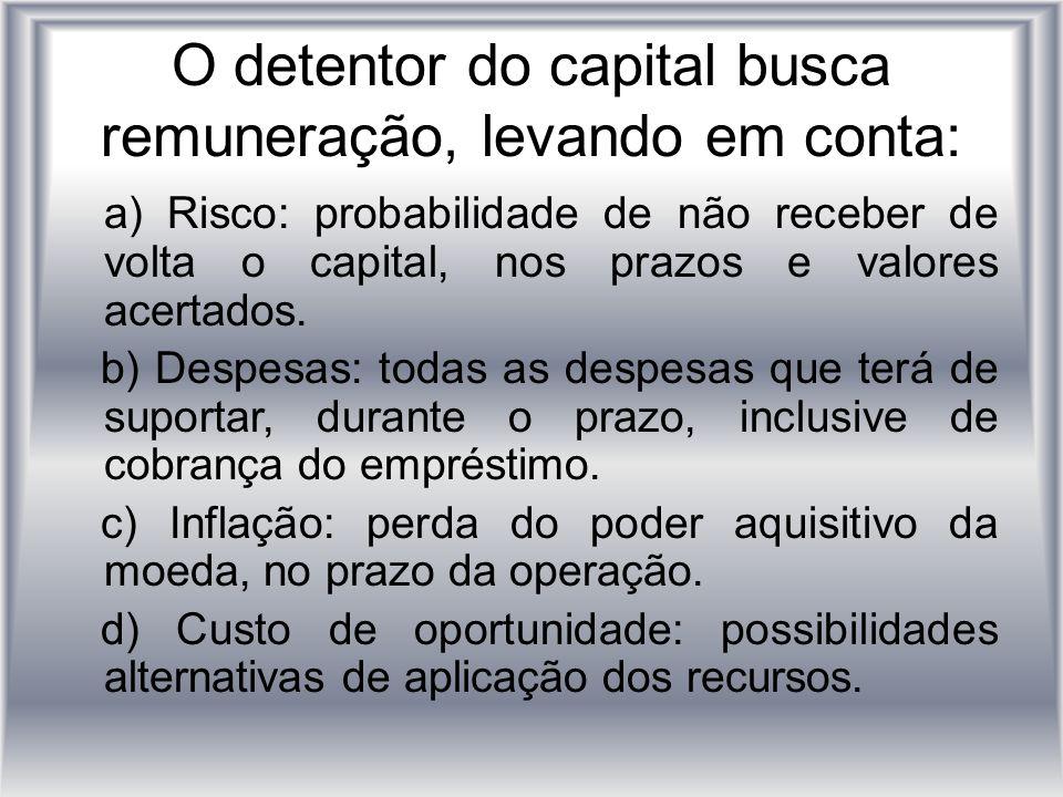 O detentor do capital busca remuneração, levando em conta: