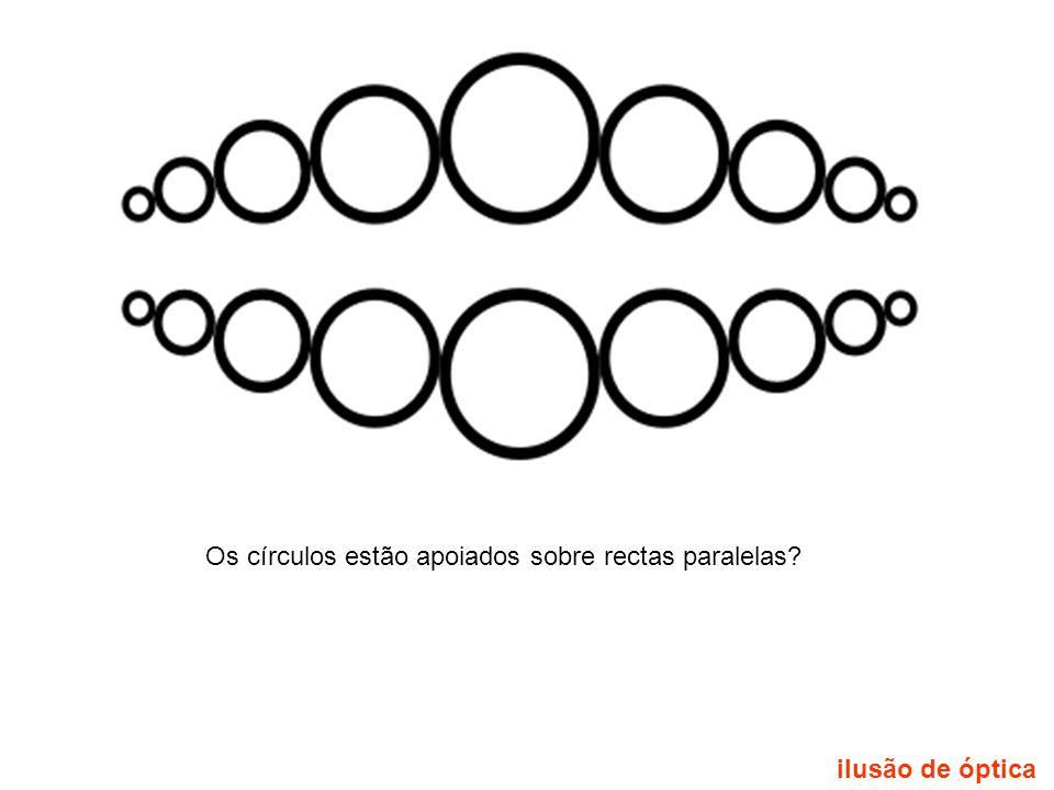 Os círculos estão apoiados sobre rectas paralelas