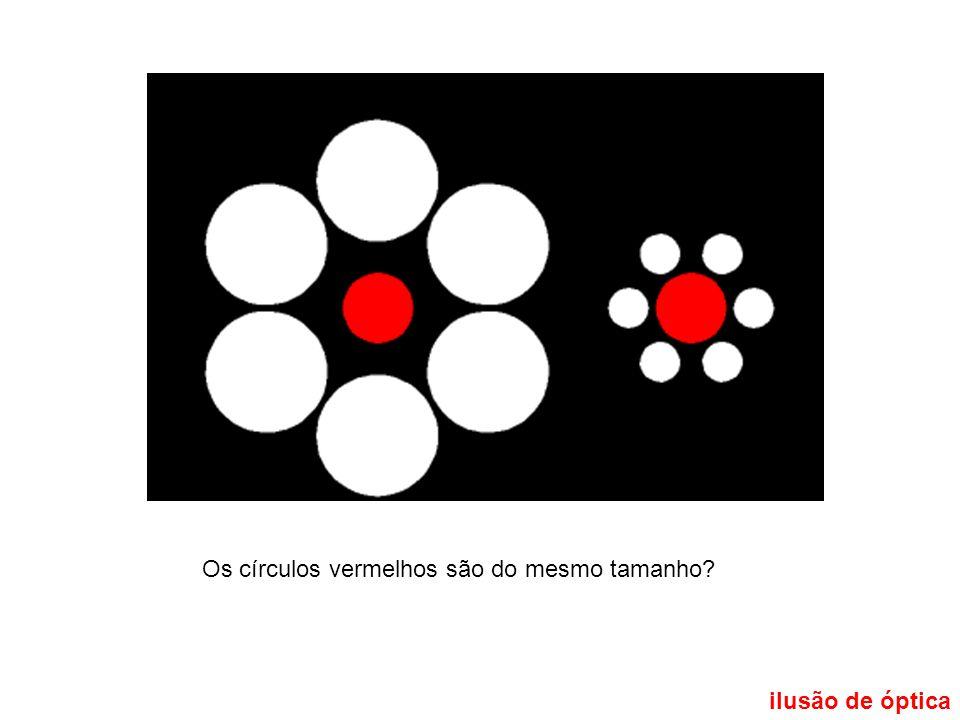 Os círculos vermelhos são do mesmo tamanho