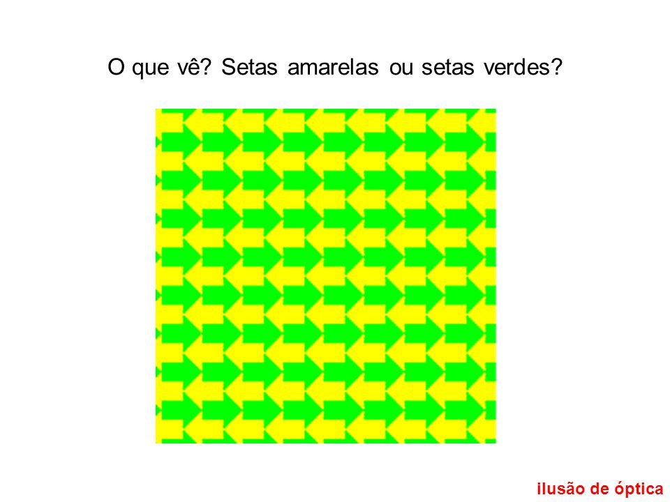 O que vê Setas amarelas ou setas verdes