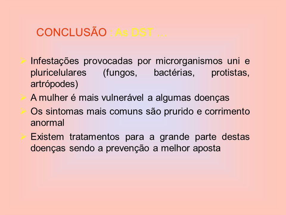 CONCLUSÃO : As DST … Infestações provocadas por microrganismos uni e pluricelulares (fungos, bactérias, protistas, artrópodes)