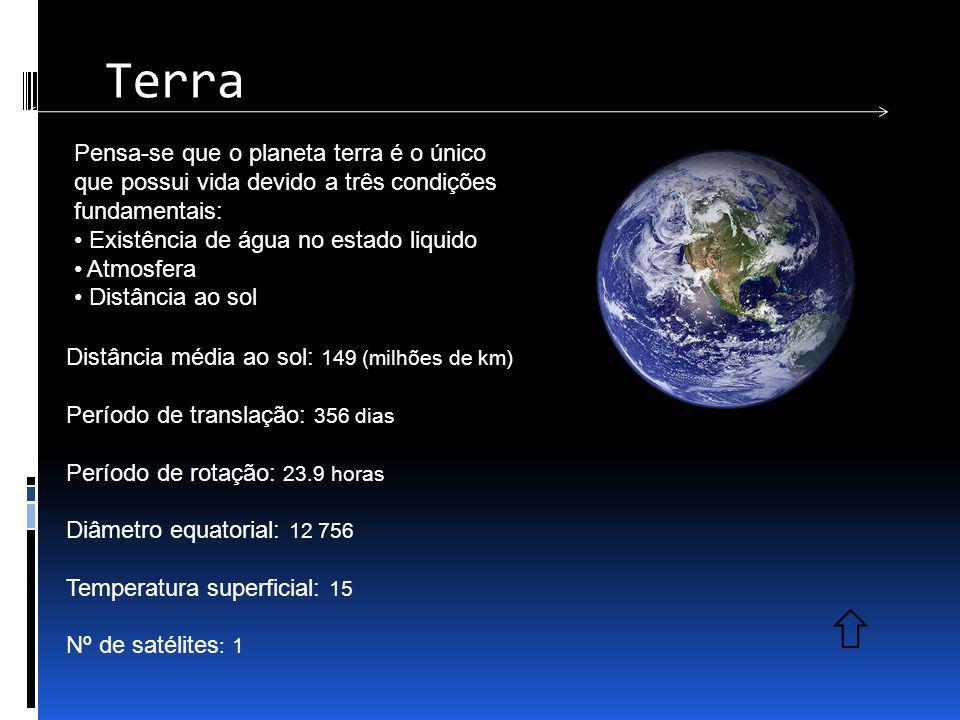 Terra Pensa-se que o planeta terra é o único que possui vida devido a três condições fundamentais: Existência de água no estado liquido.