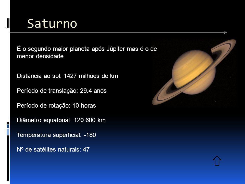 Saturno É o segundo maior planeta após Júpiter mas é o de menor densidade. Distância ao sol: 1427 milhões de km.