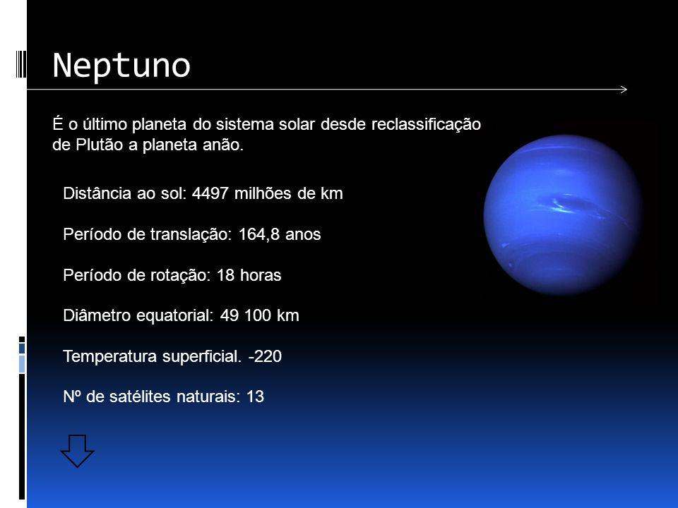 Neptuno É o último planeta do sistema solar desde reclassificação de Plutão a planeta anão. Distância ao sol: 4497 milhões de km.