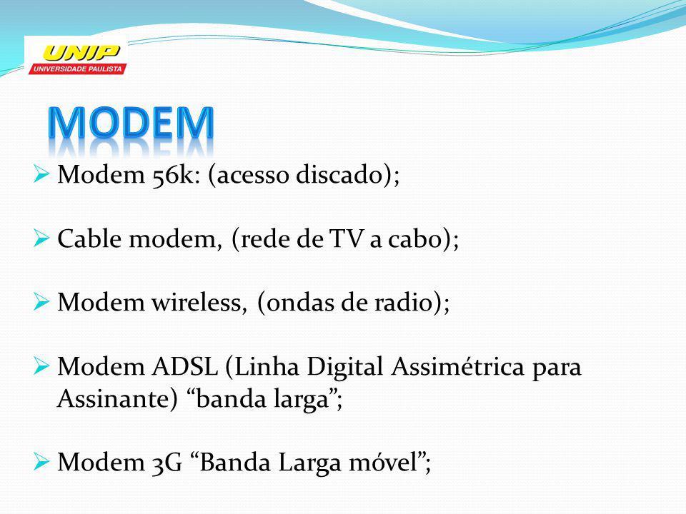 Modem Modem 56k: (acesso discado); Cable modem, (rede de TV a cabo);