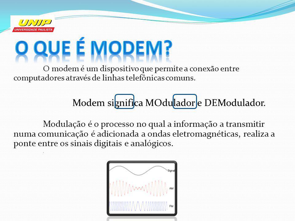 O que é Modem O modem é um dispositivo que permite a conexão entre computadores através de linhas telefônicas comuns.