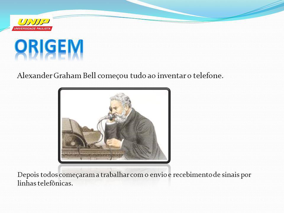 Origem Alexander Graham Bell começou tudo ao inventar o telefone.