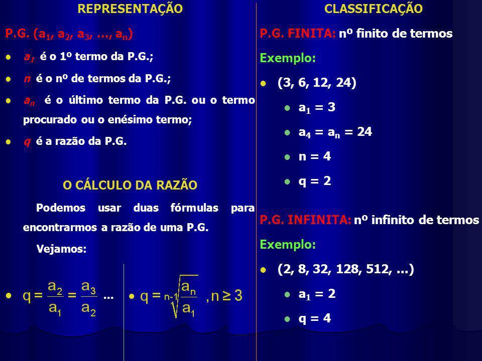 REPRESENTAÇÃO O CÁLCULO DA RAZÃO CLASSIFICAÇÃO