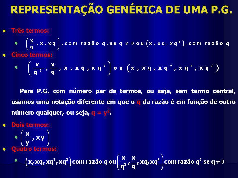 REPRESENTAÇÃO GENÉRICA DE UMA P.G.
