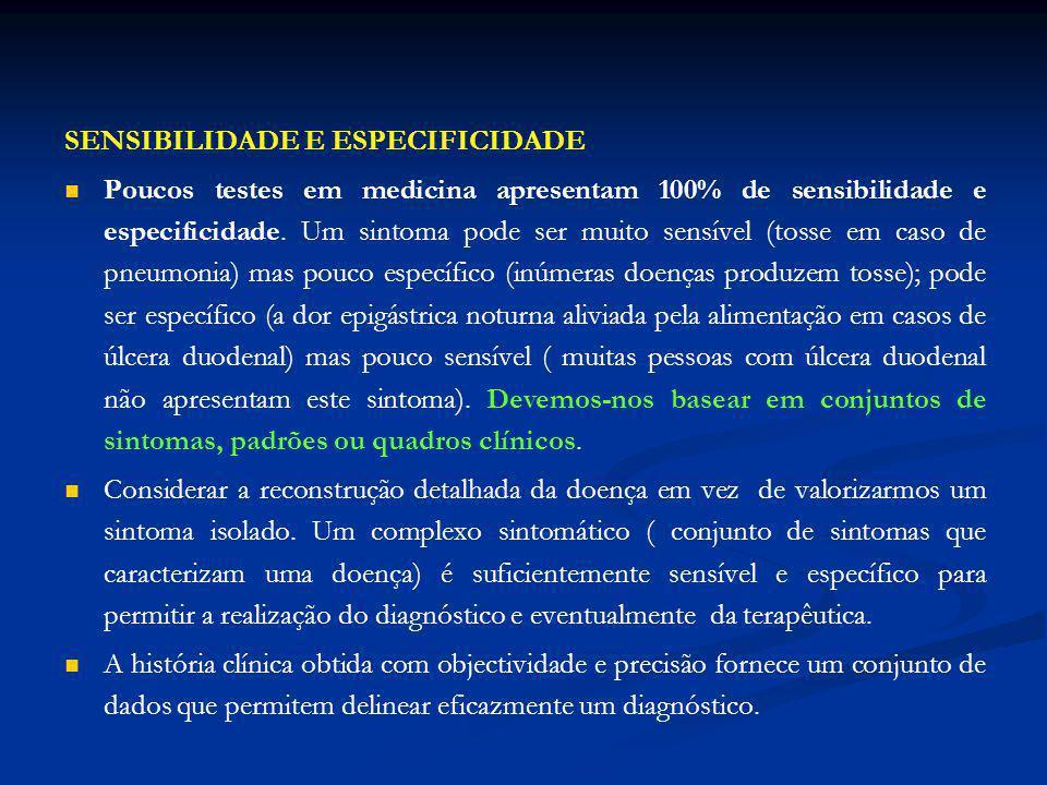 SENSIBILIDADE E ESPECIFICIDADE