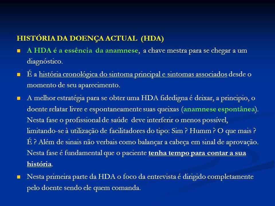 HISTÓRIA DA DOENÇA ACTUAL (HDA)