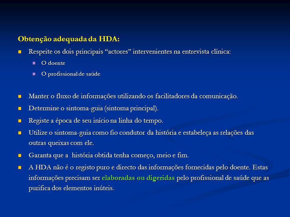 Obtenção adequada da HDA: