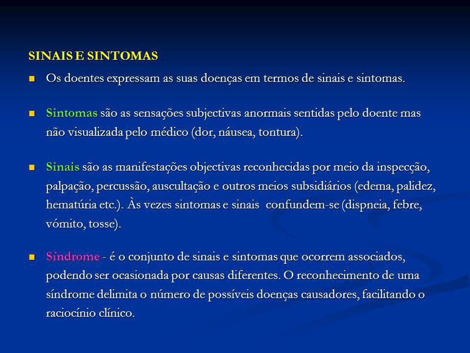 SINAIS E SINTOMAS Os doentes expressam as suas doenças em termos de sinais e sintomas.
