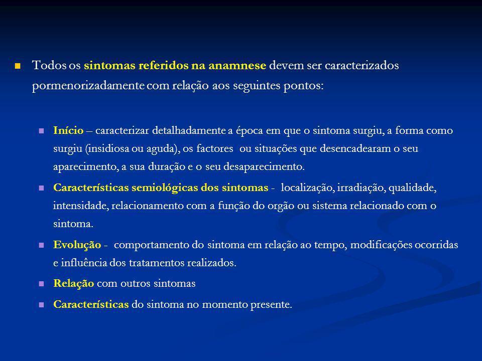Todos os sintomas referidos na anamnese devem ser caracterizados pormenorizadamente com relação aos seguintes pontos: