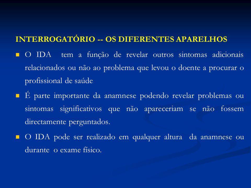 INTERROGATÓRIO -- OS DIFERENTES APARELHOS