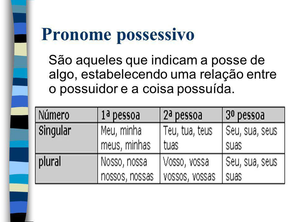 Pronome possessivo São aqueles que indicam a posse de algo, estabelecendo uma relação entre o possuidor e a coisa possuída.