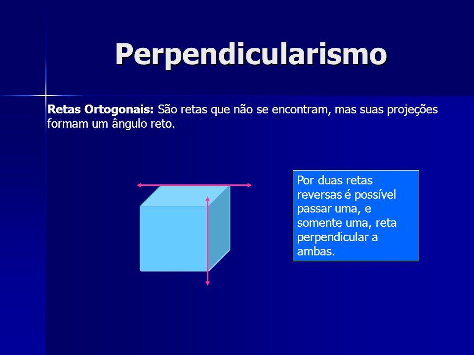 Perpendicularismo Retas Ortogonais: São retas que não se encontram, mas suas projeções formam um ângulo reto.