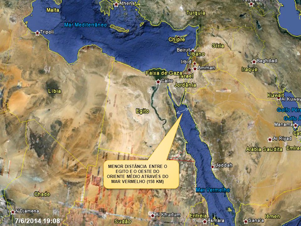 16:45:30 MENOR DISTÂNCIA ENTRE O EGITO E O OESTE DO ORIENTE MÉDIO ATRAVÉS DO MAR VERMELHO (158 KM) 01/04/2017 16:45.