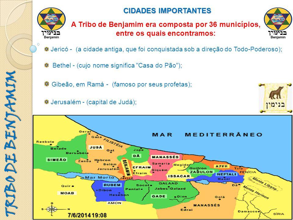 TRIBO DE BENJAMIM CIDADES IMPORTANTES