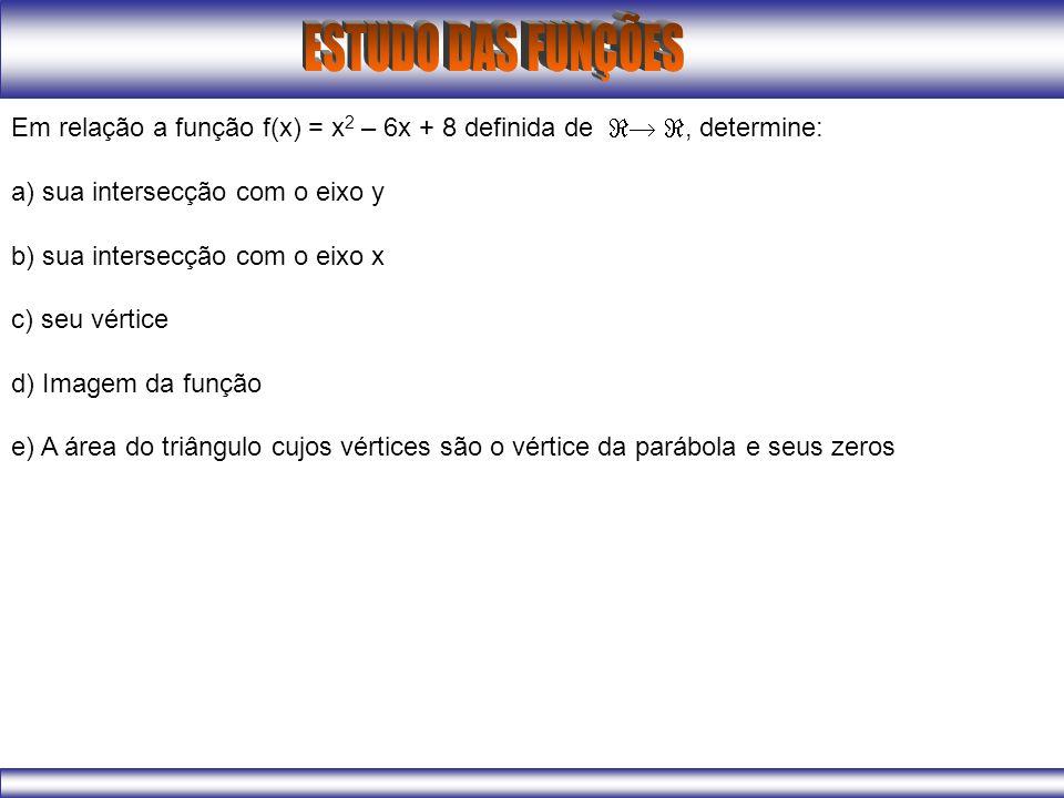 Em relação a função f(x) = x2 – 6x + 8 definida de  , determine: