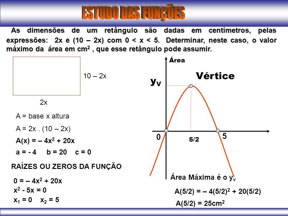 As dimensões de um retângulo são dadas em centímetros, pelas expressões: 2x e (10 – 2x) com 0 < x < 5. Determinar, neste caso, o valor máximo da área em cm2 , que esse retângulo pode assumir.